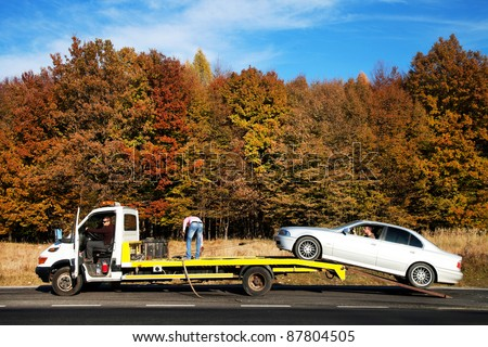 Auto towing - stock photo