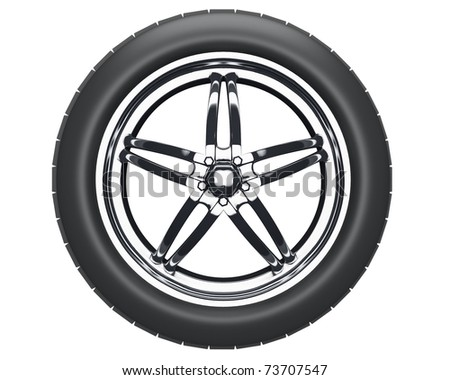 auto wheel with silver disk inside isolated over white background - stock photo