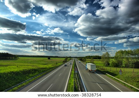 Autobahn Berlin - Hamburg (Germany) - stock photo