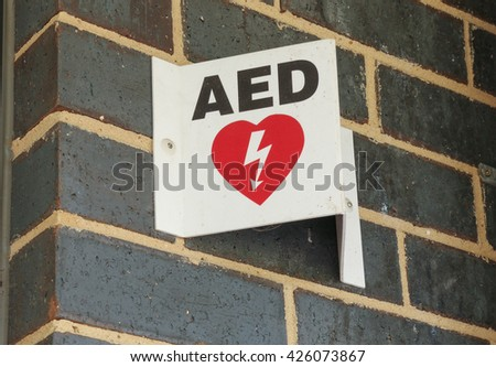 Automated External Defibrillator Aed Sign Public Stock Photo