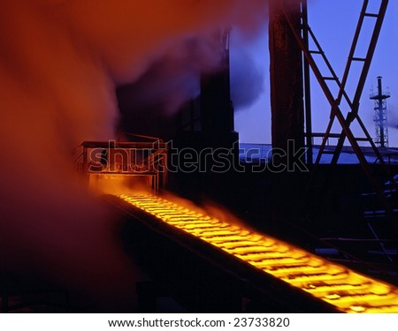Automated production processes, molten metal - stock photo