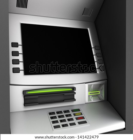 Automated teller machine. - stock photo