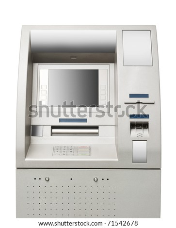 Automated teller machine close-up - stock photo