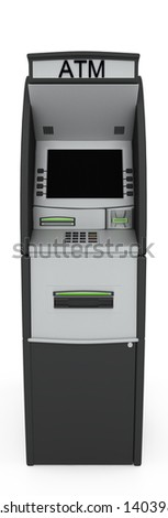 Automated teller machine. Isolated on white background - stock photo