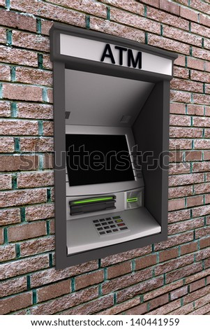 Automated teller machine on a brick wall - stock photo