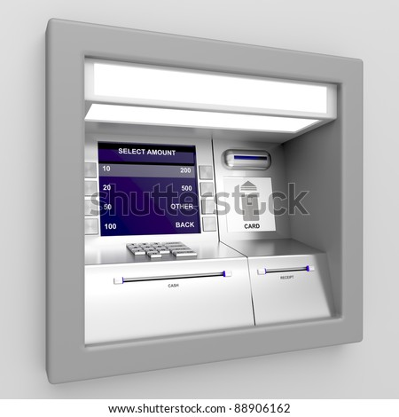 Automated teller machine on gray background - stock photo