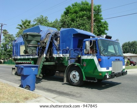 Automated Trash-Recycling Truck - stock photo