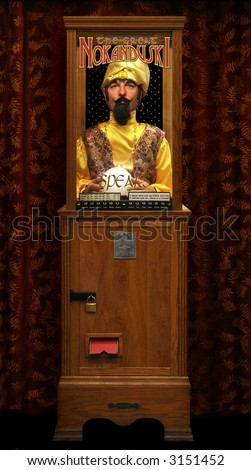 Automated vintage fortune teller vending machine with clipping path - stock photo