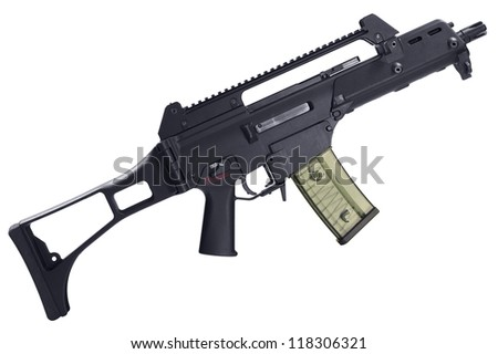Automatic assault rifle isolated on white background. Clipping path - stock photo