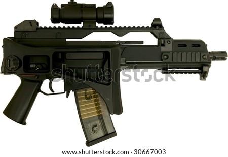 automatic assault rifle left side folded isolated on white - stock photo