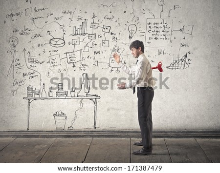 automatic businessman - stock photo