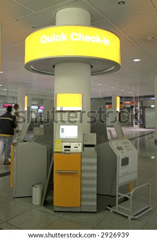 automatic check-in at airport - stock photo