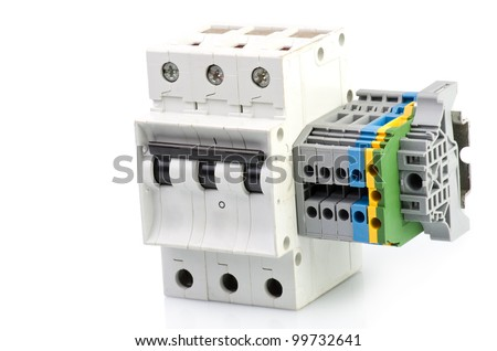 Automatic circuit breaker, on a white background. - stock photo