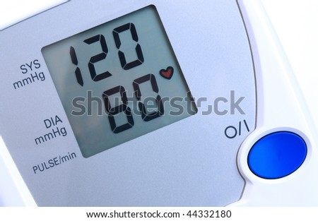 Automatic digital blood pressure monitor - closeup view. - stock photo