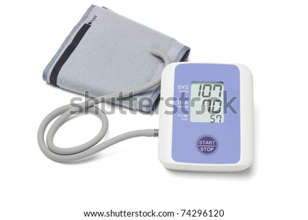 Automatic digital blood pressure monitoring meter on white background - stock photo