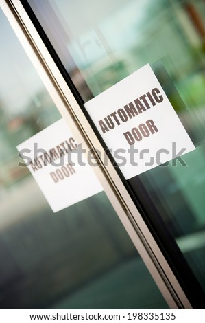Automatic Doors Sign - stock photo