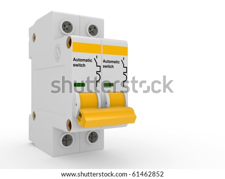 Automatic electricity switch.  3d model isolated on a white - stock photo