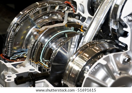 Automatic gearbox cut-through view - stock photo