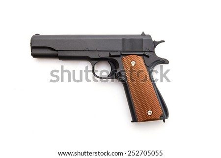 Automatic gun battle on a white background - stock photo