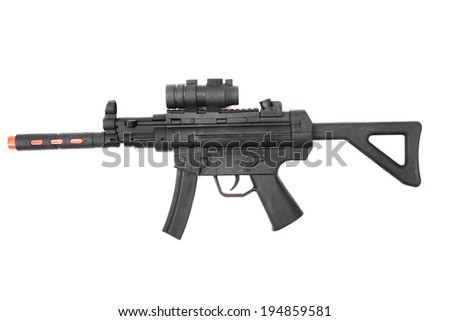 automatic gun toy isolated on the white background - stock photo