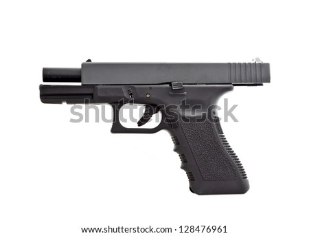automatic hand gun on white background, unloaded position - stock photo