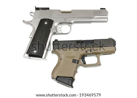 Automatic handgun on white background. - stock photo