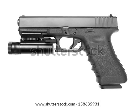 Automatic handgun with tactical flashlight isolated on white background. - stock photo