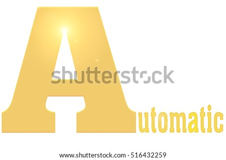Automatic , Isolated On White Background with golden color