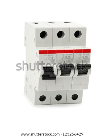 automatic knife-switch on  isolated. Close up - stock photo
