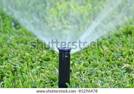automatic lawn sprinkler - stock photo