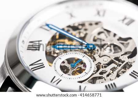 Automatic Men Watch With Visible Mechanism - stock photo