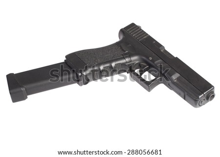automatic 9mm handgun isolated on a white background - stock photo