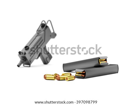 Automatic 9mm Machine Gun with Holders isolated on white background. Military Weapons Concept. Focus on the Holders. 3D Rendering - stock photo