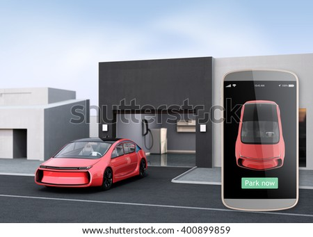 Automatic parking assist concept. Use smart phone parking app can park car without driver in the car. 3D rendering image. - stock photo