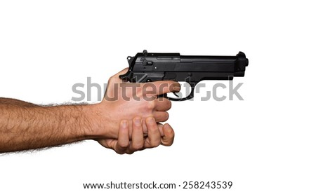 Automatic pistol handled with two hands - white background - stock photo