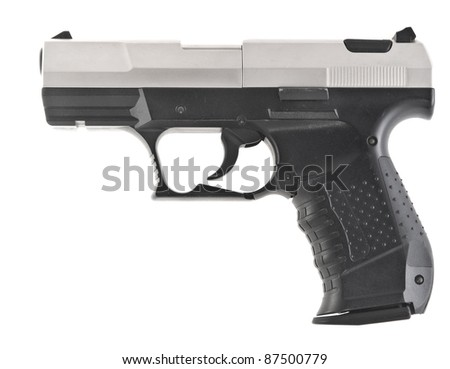 Automatic pistol on a white background - stock photo