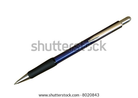 Automatic School Pencil; Silver, Black and Violet; Isolated with Clipping Path
