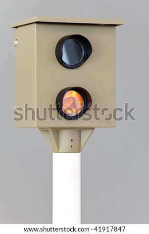 automatic speed check camera - stock photo