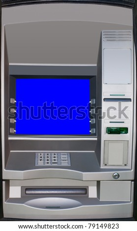 Automatic teller machine. ATM screen is isolated with clipping path - stock photo