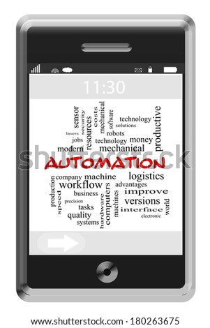 Automation Word Cloud Concept of Touchscreen Phone with great terms such as robots, machines and more.