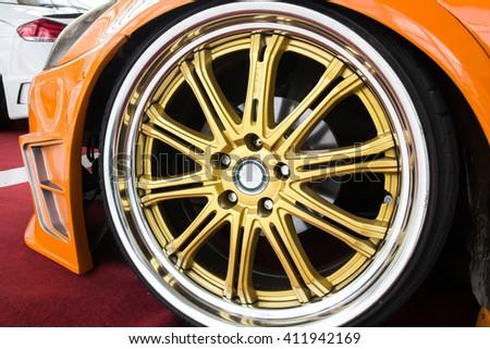 automobile alloy wheels. - stock photo