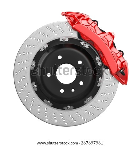 Automobile braking system. Aeration steel brake disk with perforation and red six pistons calipers and pads. Tuning auto parts. Isolated on white background 3d. - stock photo