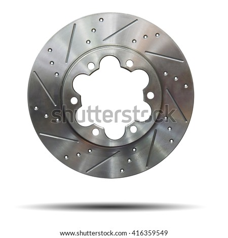 Automobile braking system. Aeration steel brake disk with perforation and red six pistons calipers and pads. Tuning auto parts. Isolated on white background. This has clipping path. - stock photo