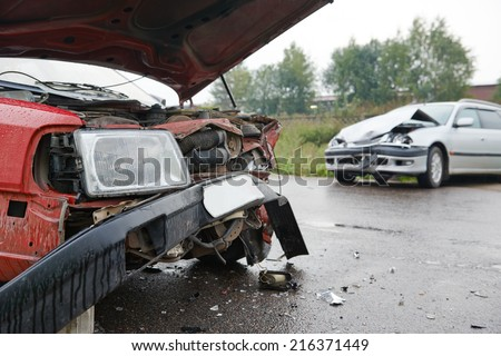 automobile car crashed and damaged after city accident on an road - stock photo