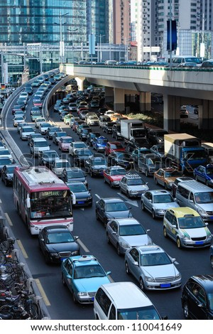 automobile congestion in rush hour,shanghai,China - stock photo