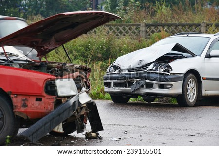 Automobile car crash accident on city stock photo for German motors collision center marin street