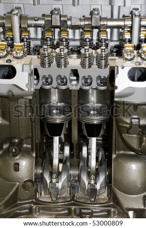 automobile cylinder block and car piston view - stock photo