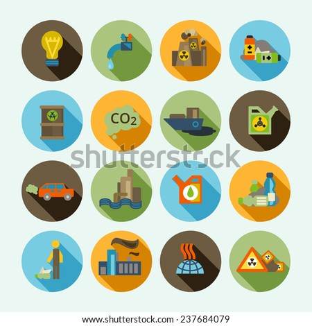 Automobile emission and oil refinery waste thermal diffuse air pollution solid shadow icons set isolated  illustration - stock photo