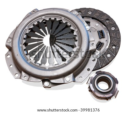 automobile engine clutch. Isolated on white with clipping path - stock photo