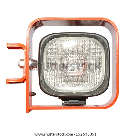 Automobile headlight dipped beam of excavator car - stock photo